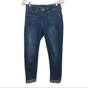 Levi's Mid Rise Cuffed Hem Skinny Blue Jeans 27